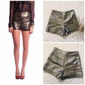 DVF Metallic Gold Black High Waist Shorts Sz 2
